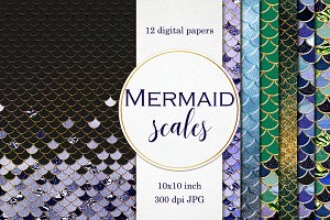 Mermaid scales patterns with gold