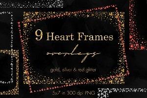 Heart conffetti metallic frames