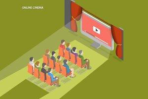 Online cinema isometric concept