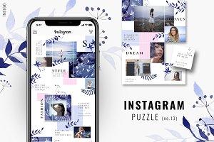 Instagram PUZZLE template - Indigo