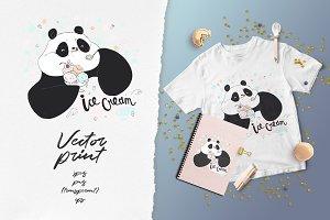 Cute panda eating ice-cream