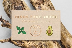 Vegan Superfoods Icon Set