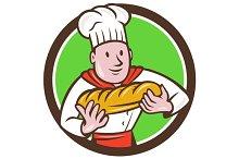 Baker Holding Bread Loaf Circle Cart