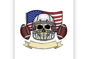 Sketch color skull american football