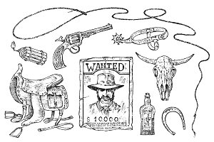 Set of cowboys. Western icons