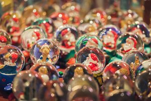 Christmast globes in fair kiosk