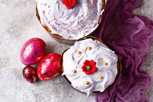 Traditional Easter cake with painted