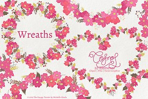 Cosmos 01 Wreaths - Flower Clipart