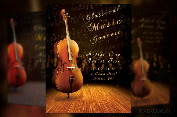 Classic music concert flyer flyer templates creative market classic music concert flyer flyers thecheapjerseys Images