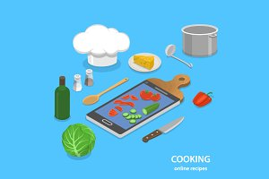 Online recipes isometric concept