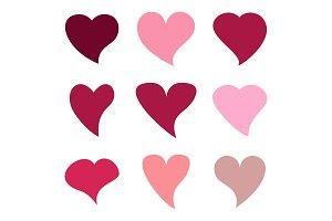 Love heart shapes. Flat vector