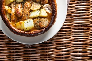 Open Pie with Potatoes and different