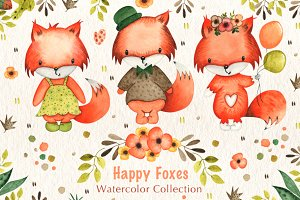 Happy Foxes Watercolor Collection