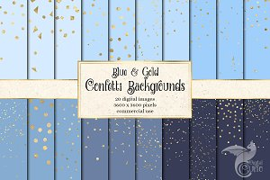 Blue and Gold Confetti Backgrounds