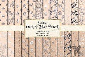 Peach & Silver Peacock Digital Paper
