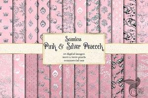 Pink & Silver Peacock Digital Paper
