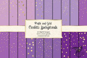 Purple and Gold Confetti Backgrounds