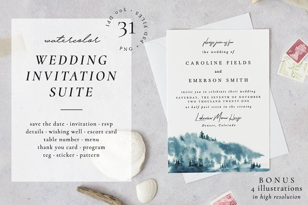 Invitation Templates: Helen Halik art - Chill forest - wedding set