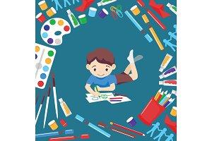 Art studio vector boy character