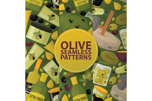Olive vector seamless pattern