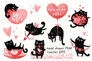 Valentine cats illustrations