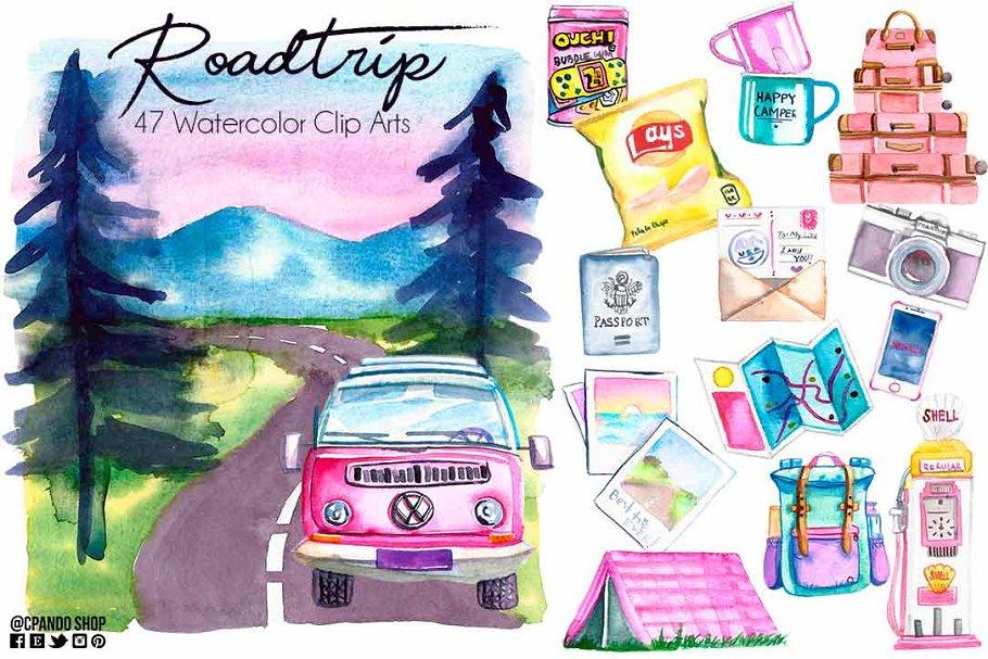 Roadtrip watercolor clipart