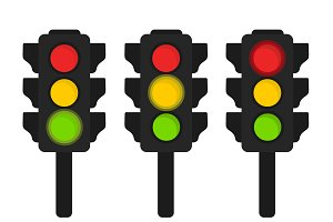 Traffic lights flat vector icon