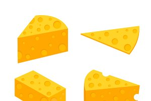 Pieces of cheese. Flat vector