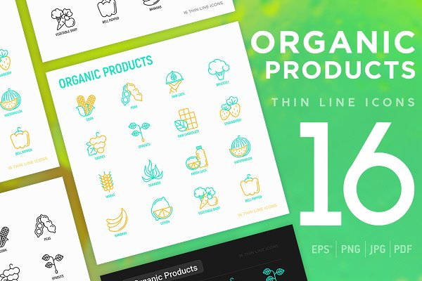Icons: Blogoodf - Organic Products | 16 Thin Line Icon