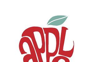 Apple typography design illustration