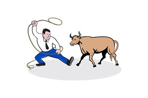 Businessman Holding Lasso Bull Carto