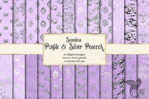 Silver & Purple Peacock Patterns