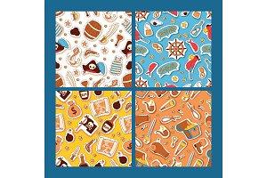 Pirates stickers seamless pattern