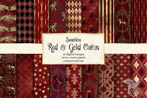 Red and Gold Circus Digital Paper