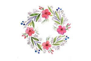 Romantic floral garland hand drawn