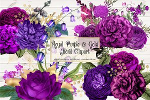 Royal Purple & Gold Floral Clipart