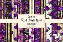 Royal Purple & Gold Floral Patterns
