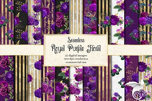 Royal Purple & Gold Floral Patterns