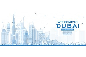 Outline Welcome to Dubai UAE Skyline