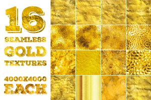 16 seamless gold textures. High res.