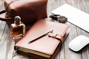 Brown leather notebook