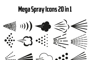Different spray signs set