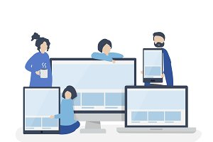 People with web design concept