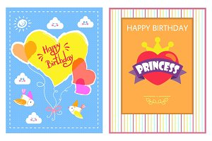 Happy Birthday Bright Cards Vector