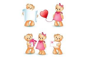 Teddy Bears Collection Love Vector