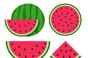 Flat icon slice of watermelon