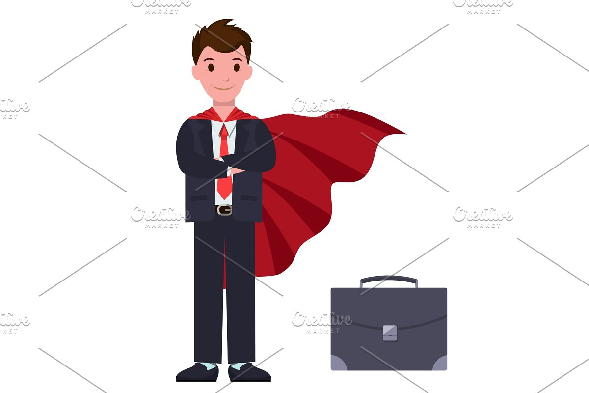 2f86e40d2 Businessman in Suit and Red Cloak ~ Illustrations ~ Creative Market
