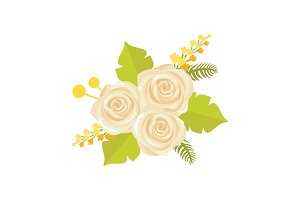 Bouquet of White Roses Icon Vector