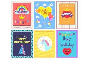 Happy Birthday Positive Cards Vector