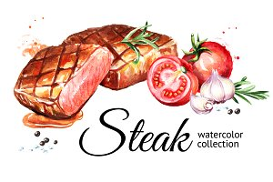 Steak. Watercolor collection